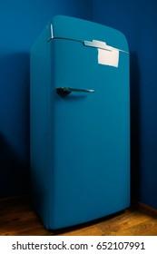 Vintage design blue fridge