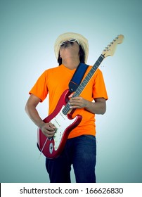 vintage design guitarist plays on the electric guitar with bright emotions, isolated on white background