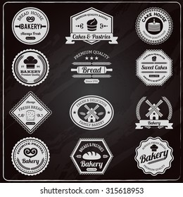 Vintage design premium quality family bakery chalkboard fresh bread emblems labels collection outline abstract isolated  illustration