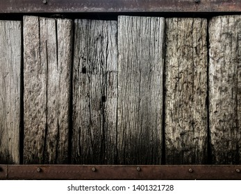Vintage Design Showing Structure of Natural Wooden Sleeper and Aged Steel As a Garden Wall Design