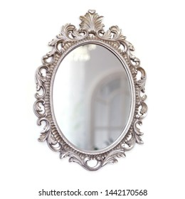 vintage design, silver decorative frame mirror, antoque mirror, classical design mirror.