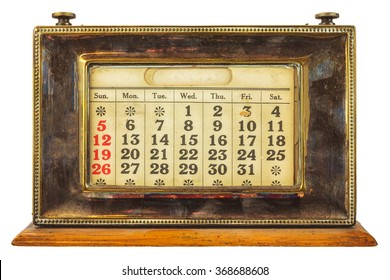 Vintage desktop calendar isolated on a white background