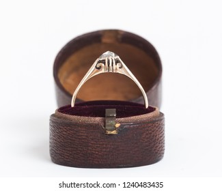 Vintage diamond ring with old leather ring box