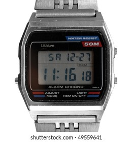 Vintage digital watch clock from the eighties isolated on white