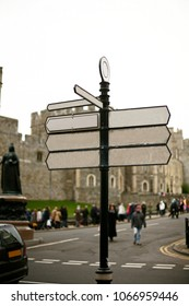 Vintage directional sign in london for guide tourist the attractions location.