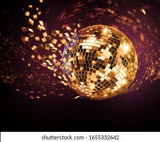 Vintage disco mirror ball spinning and breaking into purple and golden flying glass fragments on dark background