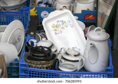 Vintage dishes for sale at the flea market