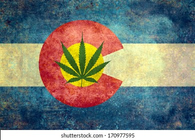Vintage distressed retro version of the Colorado State flag with Marijuana leaf in center.