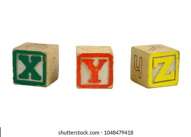 Vintage Distressed Toy Blocks, Letters X, Y, Z, Green, Red, Yellow