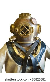 Vintage diver in helmet and suit, isolated