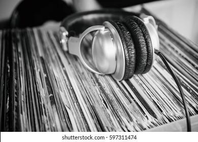 Vintage dj turntables to play music on vinyl audio disc.Hifi audiophile turn table device.Professional audio equipment