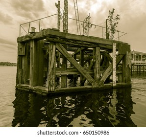 Vintage Docking Bay B, Old wooden docking bay in Cardiff Bay Wales