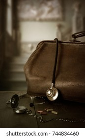 Vintage Doctors Bag With Stethoscope, Pocket Watch And Pills