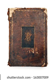 Vintage dog-eared book isolated at white