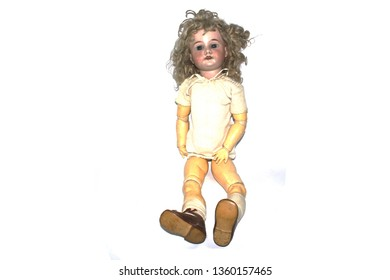 Vintage Doll on White Background