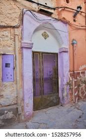 The vintage door in the medina of Ghardaia city, Sahara desert, Algeria