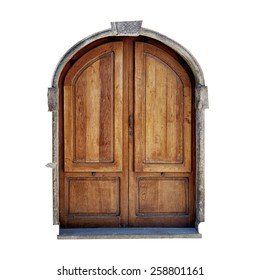 vintage door of small village isolated on white background.