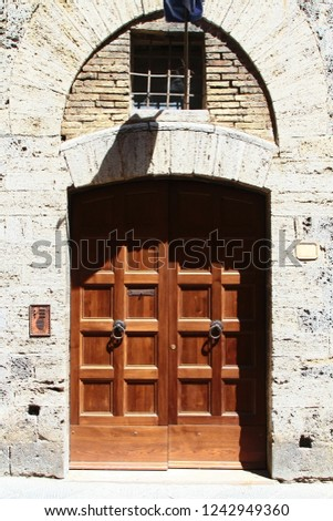 Vintage Double Wooden Arched Entry Door Stock Photo Edit Now