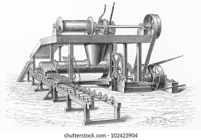 Vintage drawing of Clayton and Howlett design Peat machine - Picture from Meyers Lexikon book (written in German language) published in 1908 Leipzig - Germany.