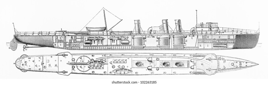 Vintage drawing of a Italian torpedo-boat destroyer from year 1906 - Picture from Meyers Lexikon book (written in German language) published in 1908 Leipzig - Germany.
