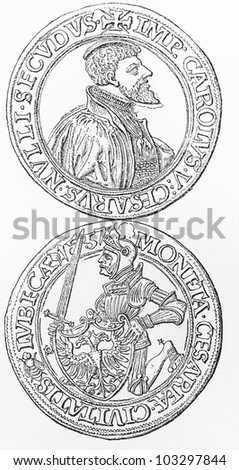 Vintage Drawing Of A Lubeck Taler Coin From 1557 Period