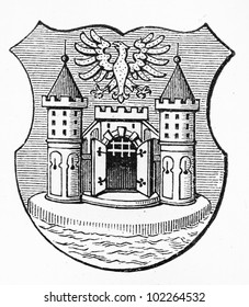 Vintage drawing representing Cieszyn coat of arms at the end of 19th century - Picture from Meyers Lexikon book (written in German language) published in 1908 Leipzig - Germany.