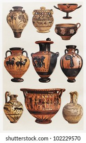 Vintage drawing representing various types of Greek clay vases - Picture from Meyers Lexikon book (written in German language) published in 1908 Leipzig - Germany.