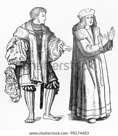 vintage drawing schaube long skirt 15th stock photo edit now 18th Century American vintage drawing of schaube long skirt from the 15th century europe picture from meyers lexicon books collection written in german language published in