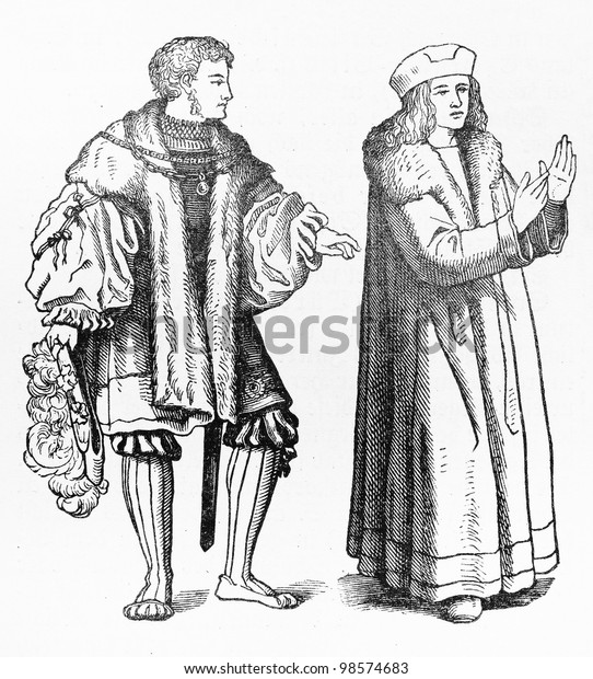 Vintage drawing of Schaube long skirt from the 15th century Europe - Picture from Meyers Lexicon books collection (written in German language ) published in 1906, Germany.