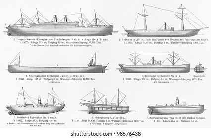 Vintage drawing of ships types from the 19th century - Picture from Meyers Lexicon books collection (written in German language) published in 1906, Germany.
