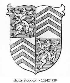 Vintage drawing of Torgan coat of arms at the end of 19th century - Picture from Meyers Lexikon book (written in German language) published in 1908 Leipzig - Germany.