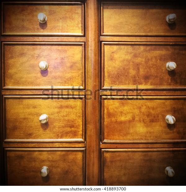 Vintage Dresser Wooden Chest Drawers Metal