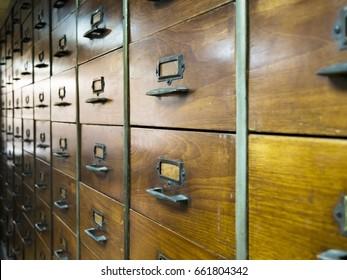 vintage drug wood drawer with iron grip