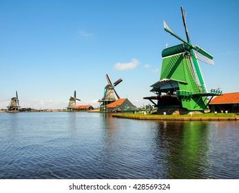 vintage Dutch mill in Zaanse Schans, Netherlands