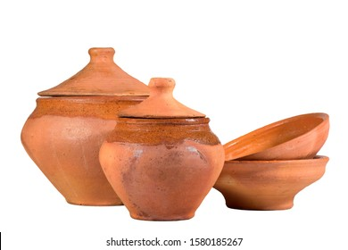 Vintage earthenware isolated on a white background.
