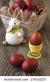 Vintage easter decoration with eggs and rabbit .