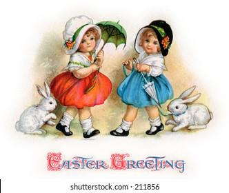 A vintage Easter greeting card illustrat