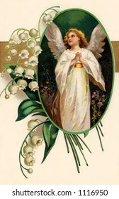 A vintage Easter greeting card illustration of an angel framed by Lily of the Valley flowers (circa 1909)