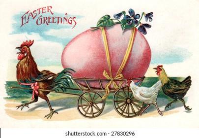Vintage Easter greeting card illustration