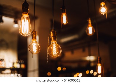 Vintage edison light bulbs in coffee shop
