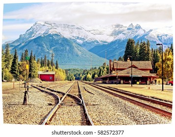 vintage editing on a the scenic picture perfect railway station of the mountain town Banff, Alberta Canada