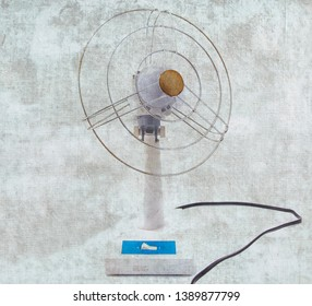 Vintage electric fan on background