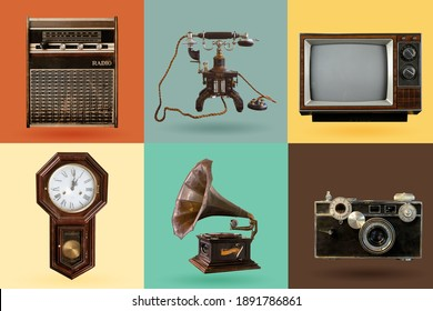 Vintage electrical and electronic appliances set. Nostalgic collectibles from the past 1960s - 1970s. objects isolated on retro color palette with clipping path.