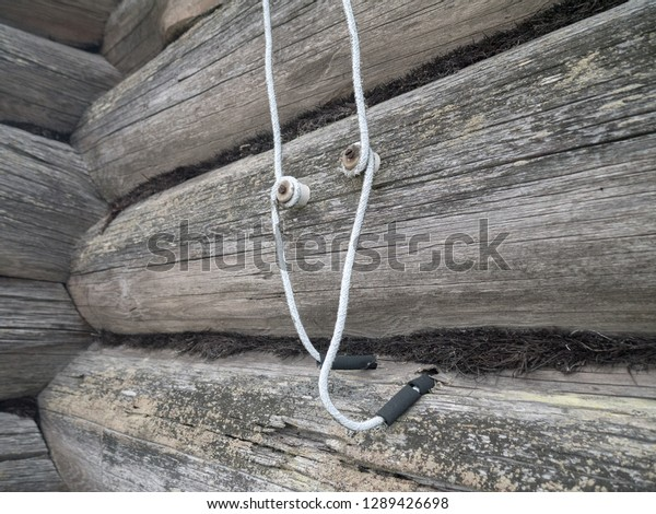 Vintage Electrical Wiring Russian Log House Stock Photo