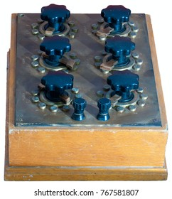 Vintage electrotechnical device - Resistors Decade Box. General view isolated on the white background