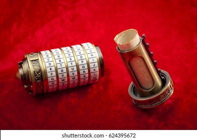 Vintage encryption and data security concept with combination puzzle box or Cryptex with secret message inside