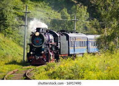 Vintage engine on the Round-Baikal Railroad