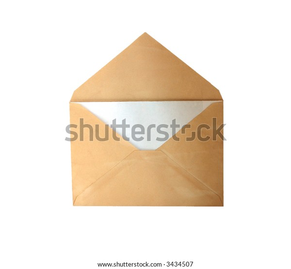 Vintage envelope with letter isolated on white