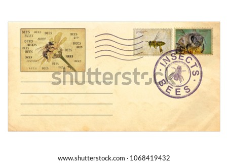 Vintage Envelope Postage Stamps On Insects Stock Photo Edit Now