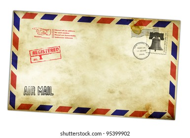Vintage envelope with USA stamps isolated on white.